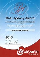 Air Berlin Best Agency Award 2010
